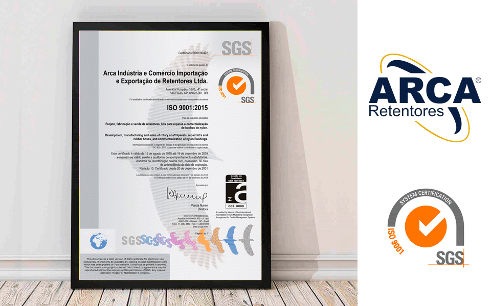 ISO 9001 | 2015 - ARCA Retentores